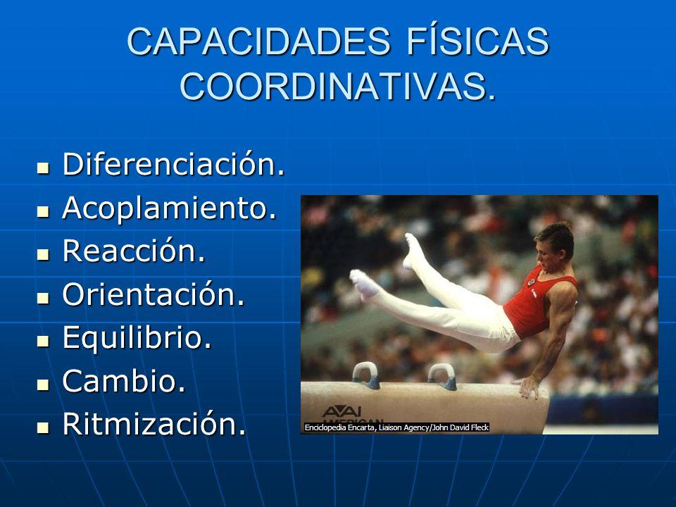 CAPACIDADES FÍSICAS COORDINATIVAS. Diferenciación. Diferenciación. Acoplamiento. Acoplamiento. Reacción. Reacción. Orientación. Orientación. Equilibri