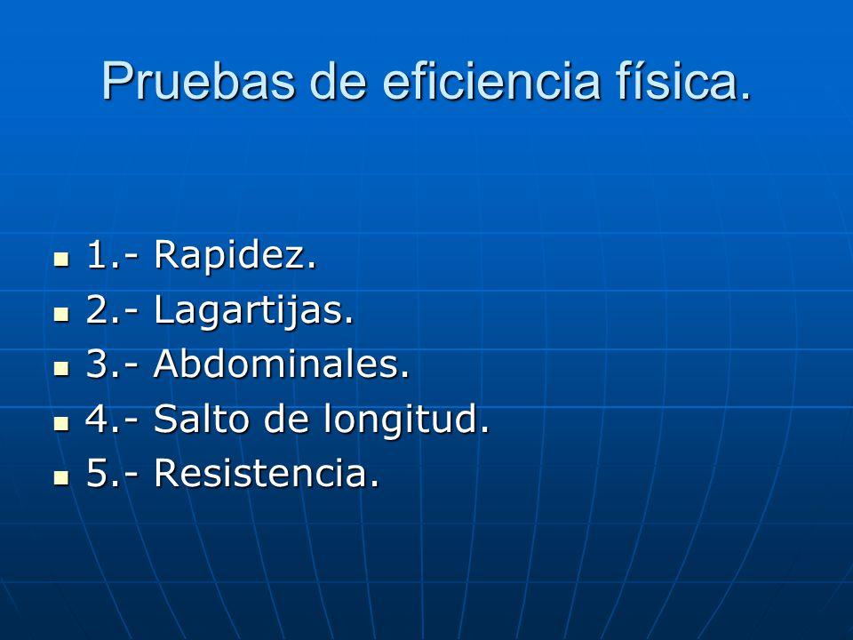 Pruebas de eficiencia física. 1.- Rapidez. 1.- Rapidez. 2.- Lagartijas. 2.- Lagartijas. 3.- Abdominales. 3.- Abdominales. 4.- Salto de longitud. 4.- S