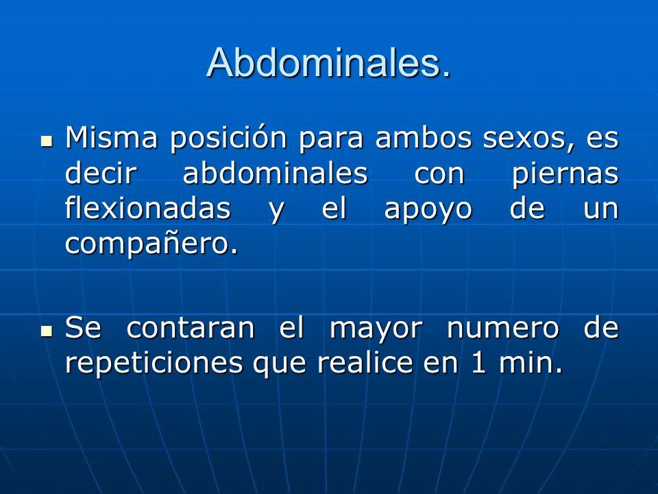 Abdominales. Misma posición para ambos sexos, es decir abdominales con piernas flexionadas y el apoyo de un compañero. Misma posición para ambos sexos