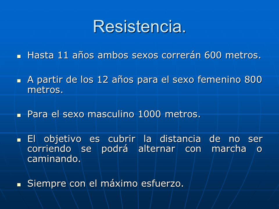 Resistencia. Hasta 11 años ambos sexos correrán 600 metros. Hasta 11 años ambos sexos correrán 600 metros. A partir de los 12 años para el sexo femeni