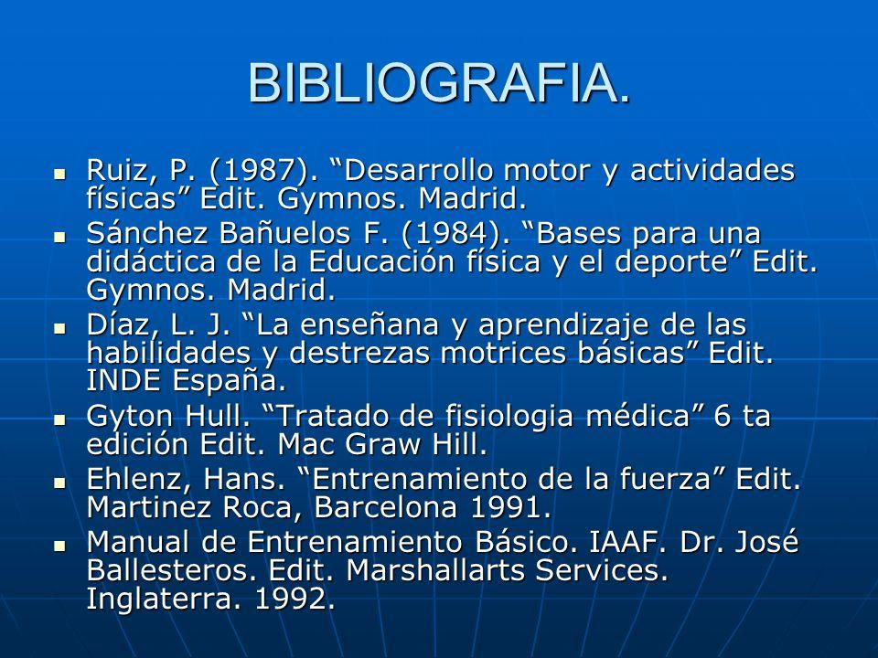 BIBLIOGRAFIA. Ruiz, P. (1987). Desarrollo motor y actividades físicas Edit. Gymnos. Madrid. Ruiz, P. (1987). Desarrollo motor y actividades físicas Ed