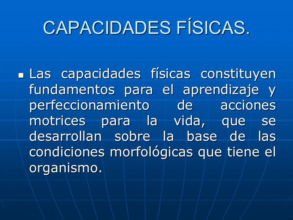 CAPACIDADES FÍSICAS. Las capacidades físicas constituyen fundamentos para el aprendizaje y perfeccionamiento de acciones motrices para la vida, que se
