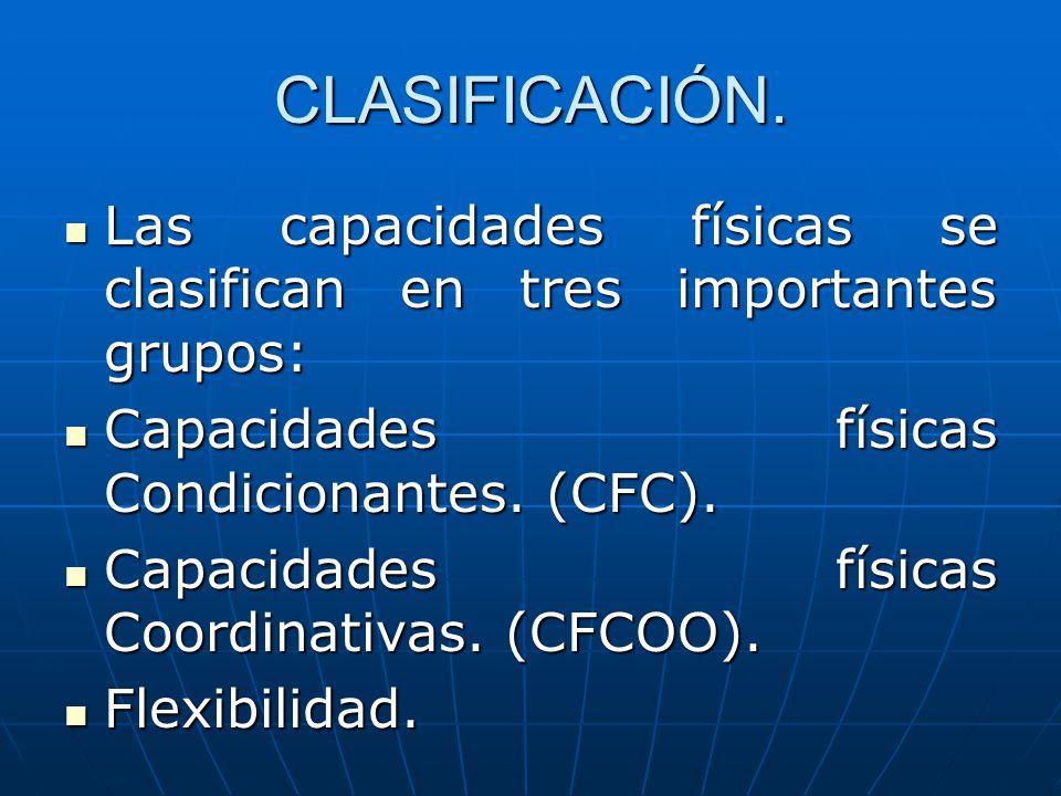 CLASIFICACIÓN. Las capacidades físicas se clasifican en tres importantes grupos: Las capacidades físicas se clasifican en tres importantes grupos: Cap