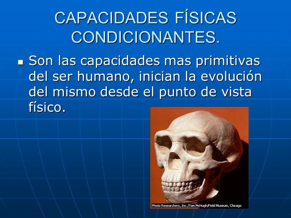CAPACIDADES FÍSICAS CONDICIONANTES. Son las capacidades mas primitivas del ser humano, inician la evolución del mismo desde el punto de vista físico.