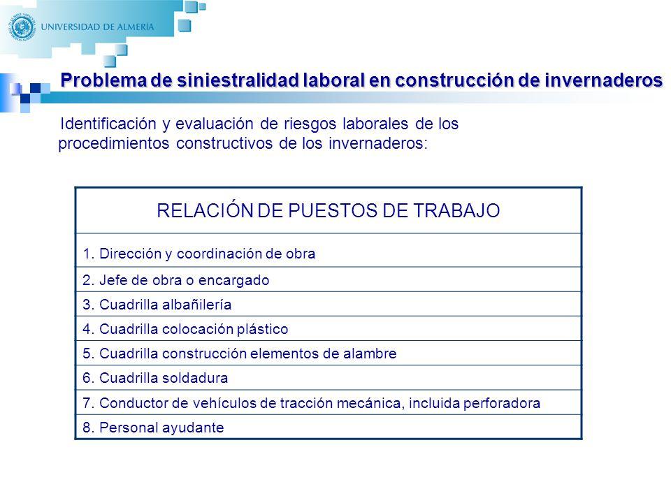 10 Identificación y evaluación de riesgos laborales de los procedimientos constructivos de los invernaderos: RELACIÓN DE PUESTOS DE TRABAJO 1. Direcci