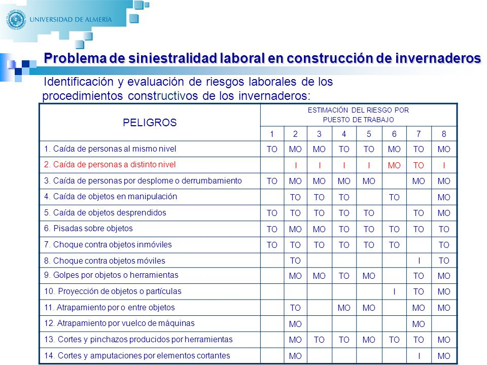 12 Identificación y evaluación de riesgos laborales de los procedimientos constructivos de los invernaderos: PELIGROS ESTIMACIÓN DEL RIESGO POR PUESTO