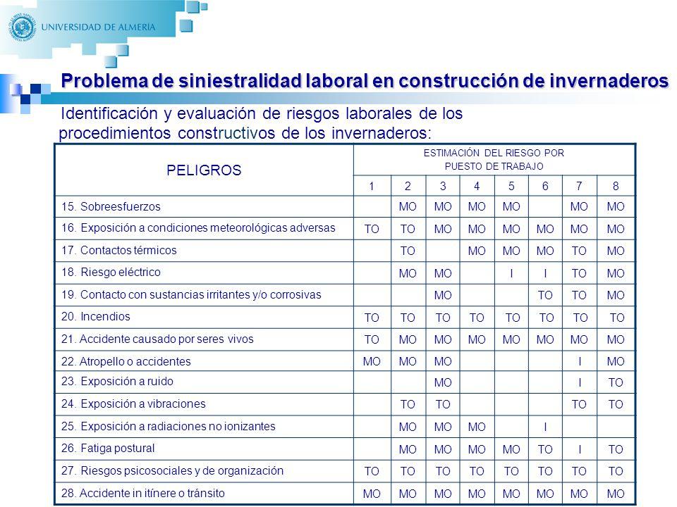 13 Identificación y evaluación de riesgos laborales de los procedimientos constructivos de los invernaderos: PELIGROS ESTIMACIÓN DEL RIESGO POR PUESTO DE TRABAJO 12345678 15.