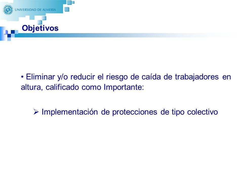 16 Objetivos Eliminar y/o reducir el riesgo de caída de trabajadores en altura, calificado como Importante: Implementación de protecciones de tipo col