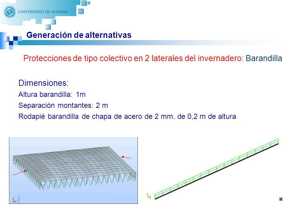 21 Generación de alternativas Protecciones de tipo colectivo en 2 laterales del invernadero: Barandilla Dimensiones: Altura barandilla: 1m Separación montantes: 2 m Rodapié barandilla de chapa de acero de 2 mm.