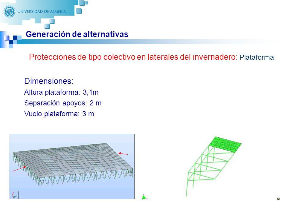 22 Generación de alternativas Protecciones de tipo colectivo en laterales del invernadero: Plataforma Dimensiones: Altura plataforma: 3,1m Separación apoyos: 2 m Vuelo plataforma: 3 m