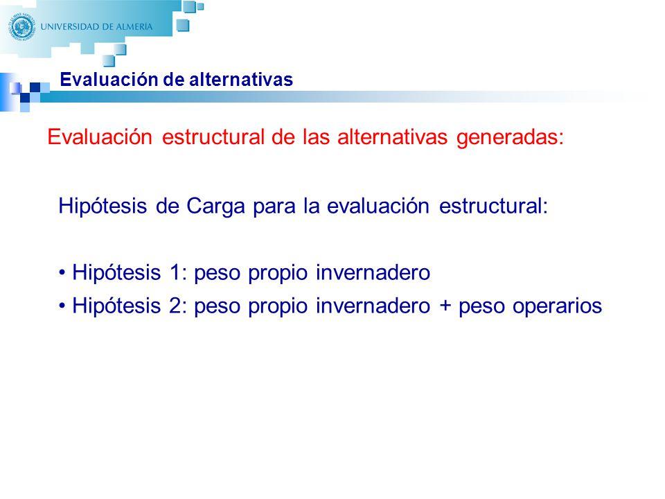 25 Evaluación de alternativas Hipótesis de Carga para la evaluación estructural: Hipótesis 1: peso propio invernadero Hipótesis 2: peso propio invernadero + peso operarios Evaluación estructural de las alternativas generadas: