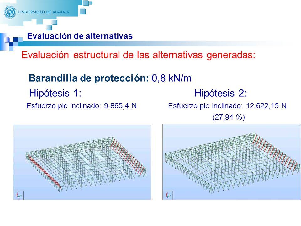 26 Evaluación de alternativas Barandilla de protección: 0,8 kN/m Hipótesis 1: Hipótesis 2: Esfuerzo pie inclinado: 9.865,4 N Esfuerzo pie inclinado: 12.622,15 N (27,94 %) Evaluación estructural de las alternativas generadas: