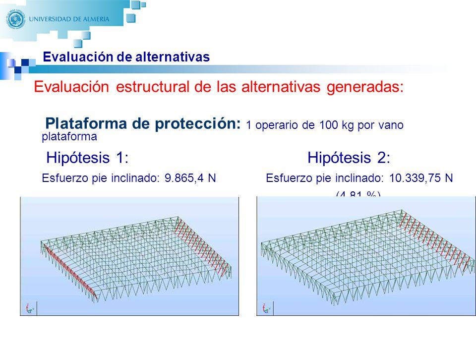 27 Evaluación de alternativas Plataforma de protección: 1 operario de 100 kg por vano plataforma Hipótesis 1: Hipótesis 2: Esfuerzo pie inclinado: 9.865,4 N Esfuerzo pie inclinado: 10.339,75 N (4,81 %) Evaluación estructural de las alternativas generadas: