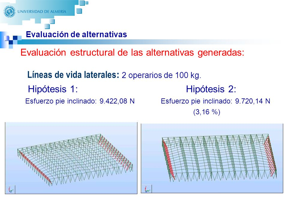 28 Evaluación de alternativas Líneas de vida laterales : 2 operarios de 100 kg. Hipótesis 1: Hipótesis 2: Esfuerzo pie inclinado: 9.422,08 N Esfuerzo