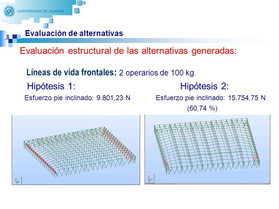 29 Evaluación de alternativas Líneas de vida frontales : 2 operarios de 100 kg. Hipótesis 1: Hipótesis 2: Esfuerzo pie inclinado: 9.801,23 N Esfuerzo