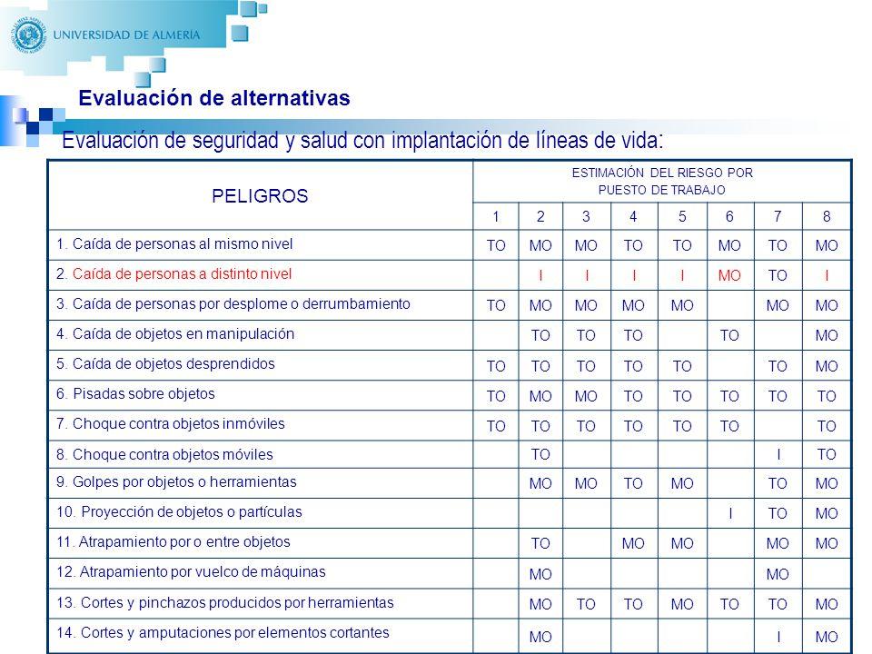 30 Evaluación de alternativas Evaluación de seguridad y salud con implantación de líneas de vida : PELIGROS ESTIMACIÓN DEL RIESGO POR PUESTO DE TRABAJO 12345678 1.