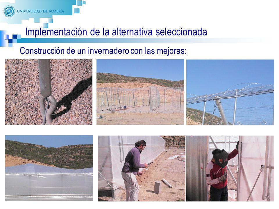 35 Implementación de la alternativa seleccionada Construcción de un invernadero con las mejoras :