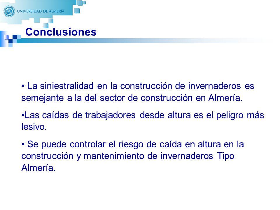 39 Conclusiones La siniestralidad en la construcción de invernaderos es semejante a la del sector de construcción en Almería. Las caídas de trabajador
