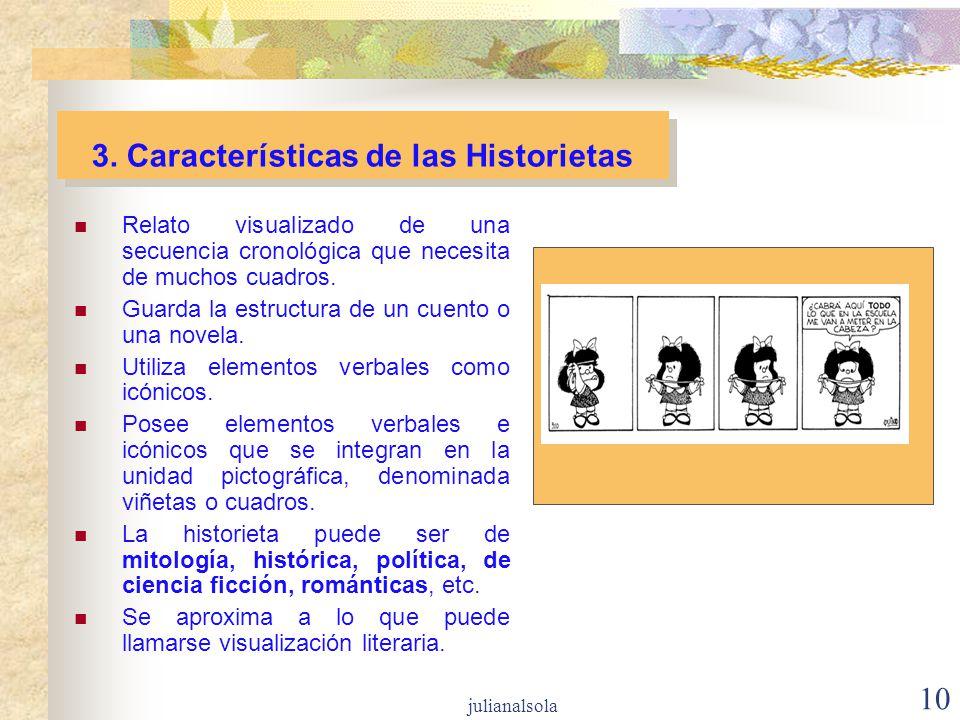 10 3. Características de las Historietas Relato visualizado de una secuencia cronológica que necesita de muchos cuadros. Guarda la estructura de un cu