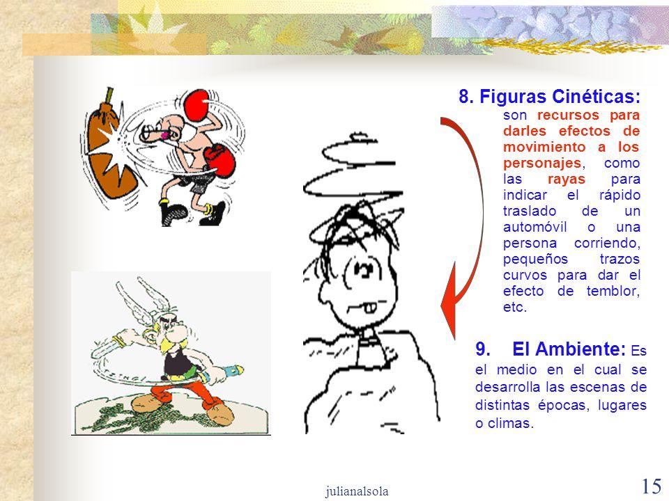 15 8. Figuras Cinéticas: son recursos para darles efectos de movimiento a los personajes, como las rayas para indicar el rápido traslado de un automóv