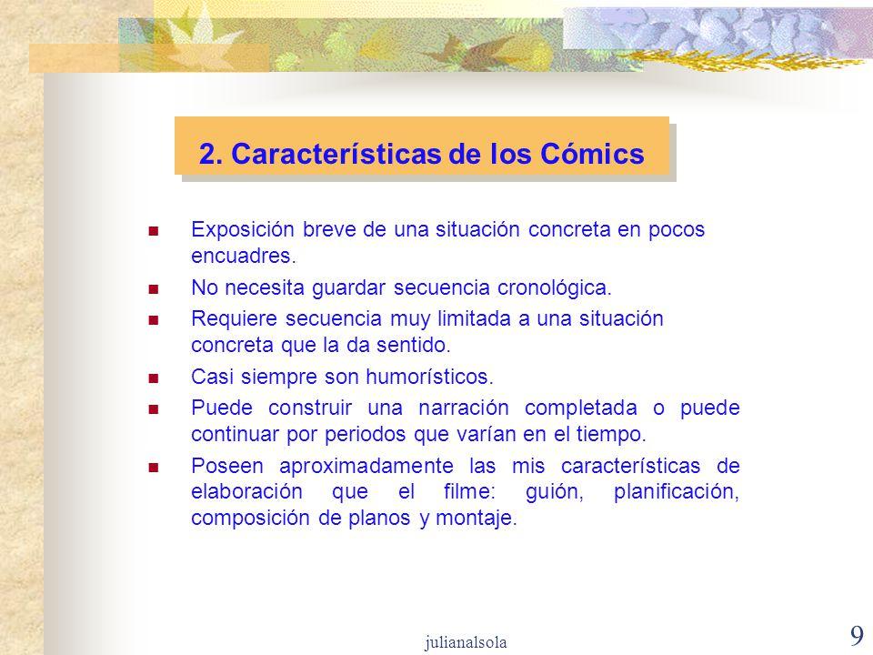 9 2. Características de los Cómics Exposición breve de una situación concreta en pocos encuadres. No necesita guardar secuencia cronológica. Requiere