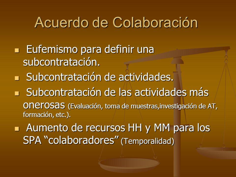 Acuerdo de Colaboración Eufemismo para definir una subcontratación.