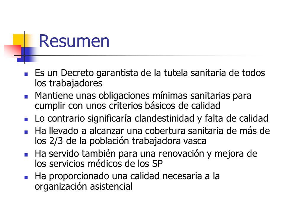 Resumen Es un Decreto garantista de la tutela sanitaria de todos los trabajadores Mantiene unas obligaciones mínimas sanitarias para cumplir con unos
