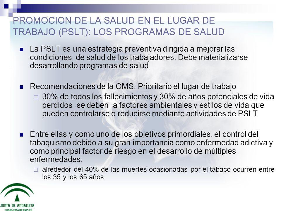 PROMOCION DE LA SALUD EN EL LUGAR DE TRABAJO (PSLT): LOS PROGRAMAS DE SALUD La PSLT es una estrategia preventiva dirigida a mejorar las condiciones de
