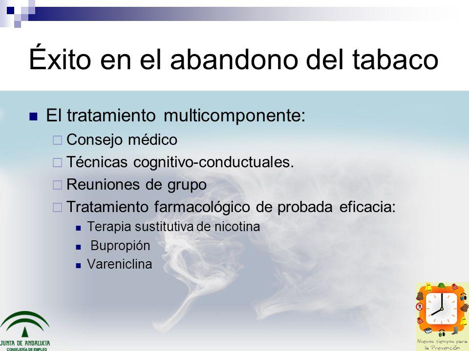 Éxito en el abandono del tabaco El tratamiento multicomponente: Consejo médico Técnicas cognitivo-conductuales. Reuniones de grupo Tratamiento farmaco