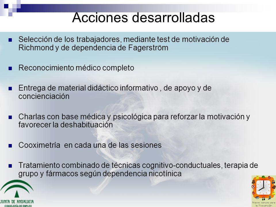 Acciones desarrolladas Selección de los trabajadores, mediante test de motivación de Richmond y de dependencia de Fagerström Reconocimiento médico com