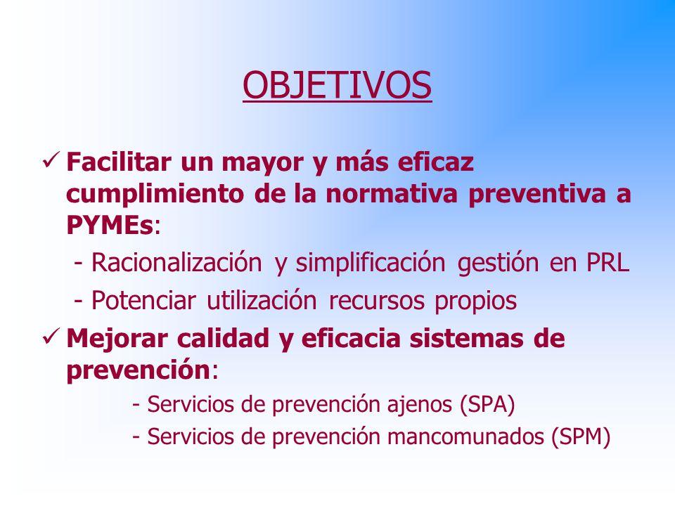 OBJETIVOS Facilitar un mayor y más eficaz cumplimiento de la normativa preventiva a PYMEs: - Racionalización y simplificación gestión en PRL - Potenciar utilización recursos propios Mejorar calidad y eficacia sistemas de prevención: - Servicios de prevención ajenos (SPA) - Servicios de prevención mancomunados (SPM)