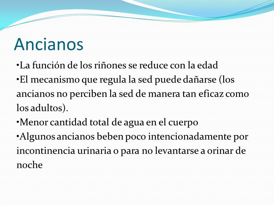 Ancianos La función de los riñones se reduce con la edad El mecanismo que regula la sed puede dañarse (los ancianos no perciben la sed de manera tan e