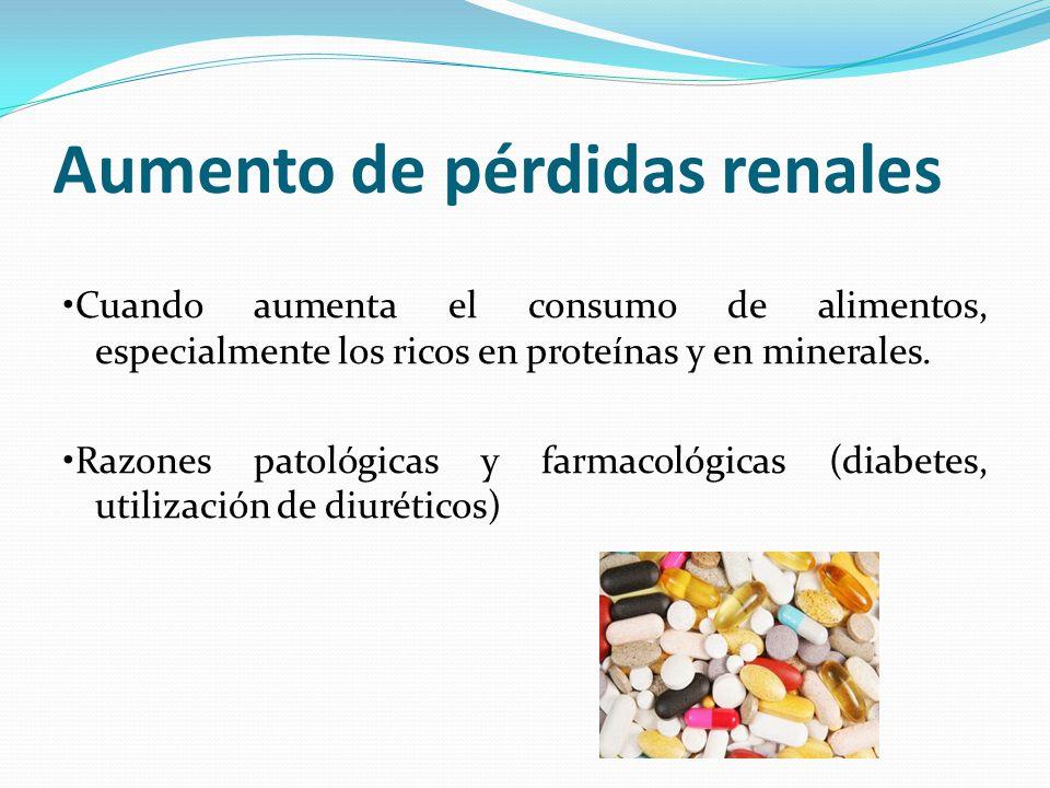 Aumento de pérdidas renales Cuando aumenta el consumo de alimentos, especialmente los ricos en proteínas y en minerales. Razones patológicas y farmaco