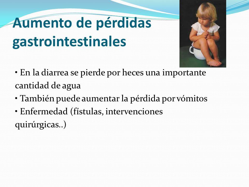 Aumento de pérdidas gastrointestinales En la diarrea se pierde por heces una importante cantidad de agua También puede aumentar la pérdida por vómitos