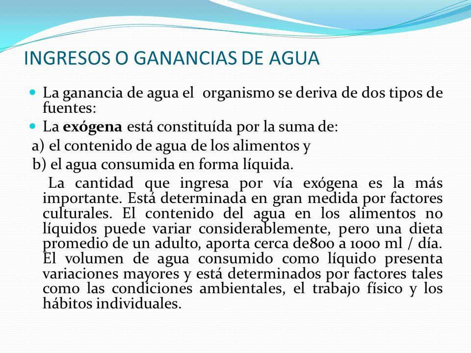 INGRESOS O GANANCIAS DE AGUA La ganancia de agua el organismo se deriva de dos tipos de fuentes: La exógena está constituída por la suma de: a) el con
