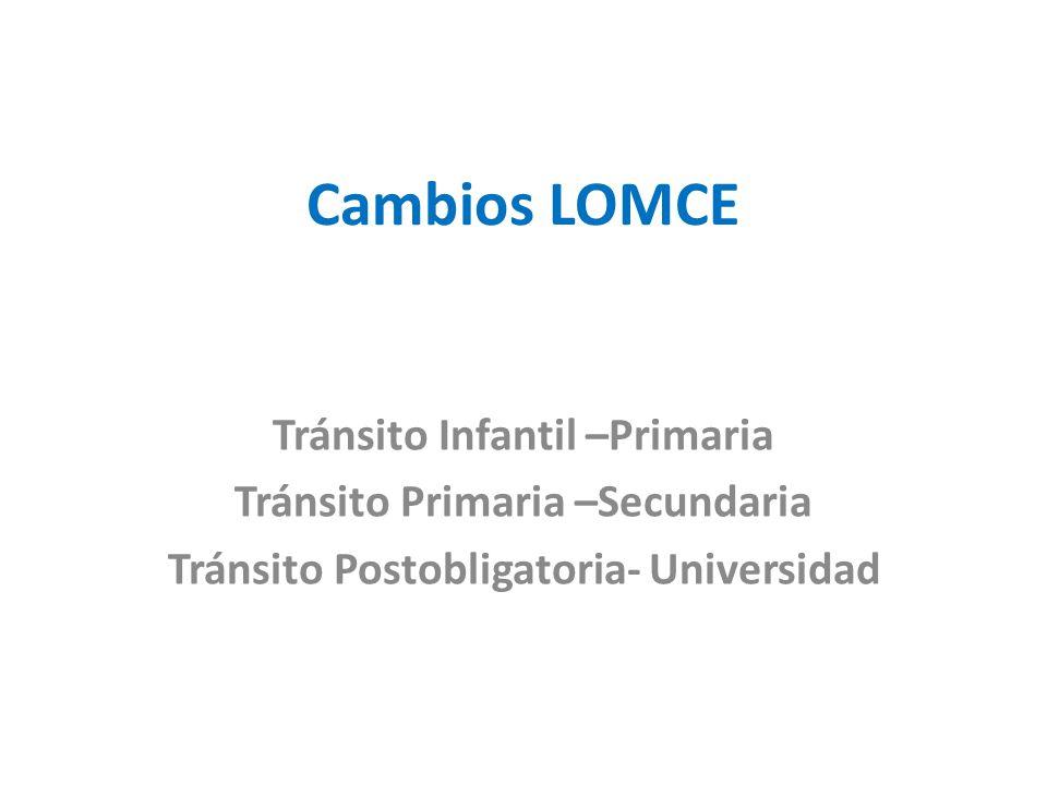 Cambios LOMCE Tránsito Infantil –Primaria Tránsito Primaria –Secundaria Tránsito Postobligatoria- Universidad