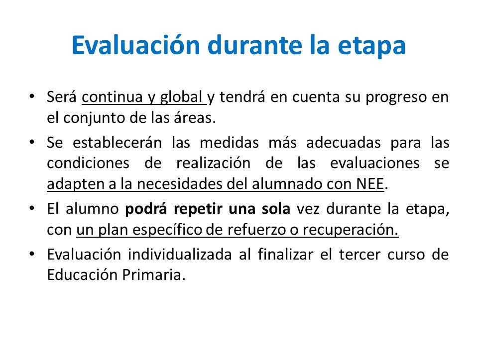 Evaluación durante la etapa Será continua y global y tendrá en cuenta su progreso en el conjunto de las áreas. Se establecerán las medidas más adecuad