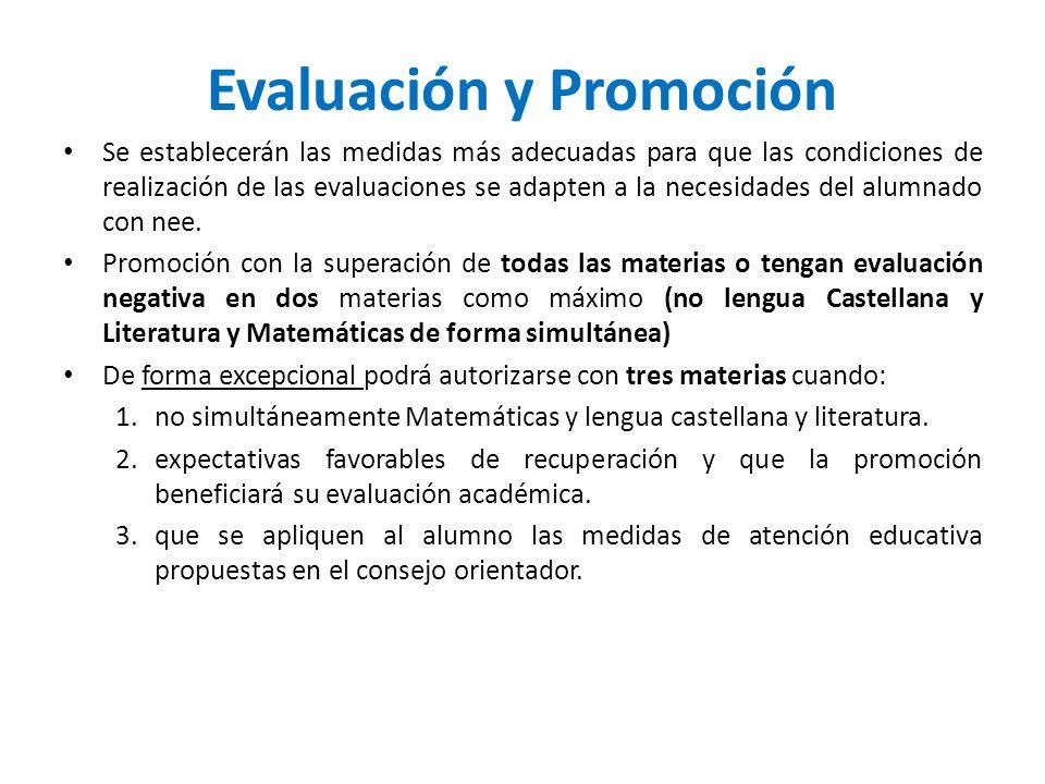 Evaluación y Promoción Se establecerán las medidas más adecuadas para que las condiciones de realización de las evaluaciones se adapten a la necesidad