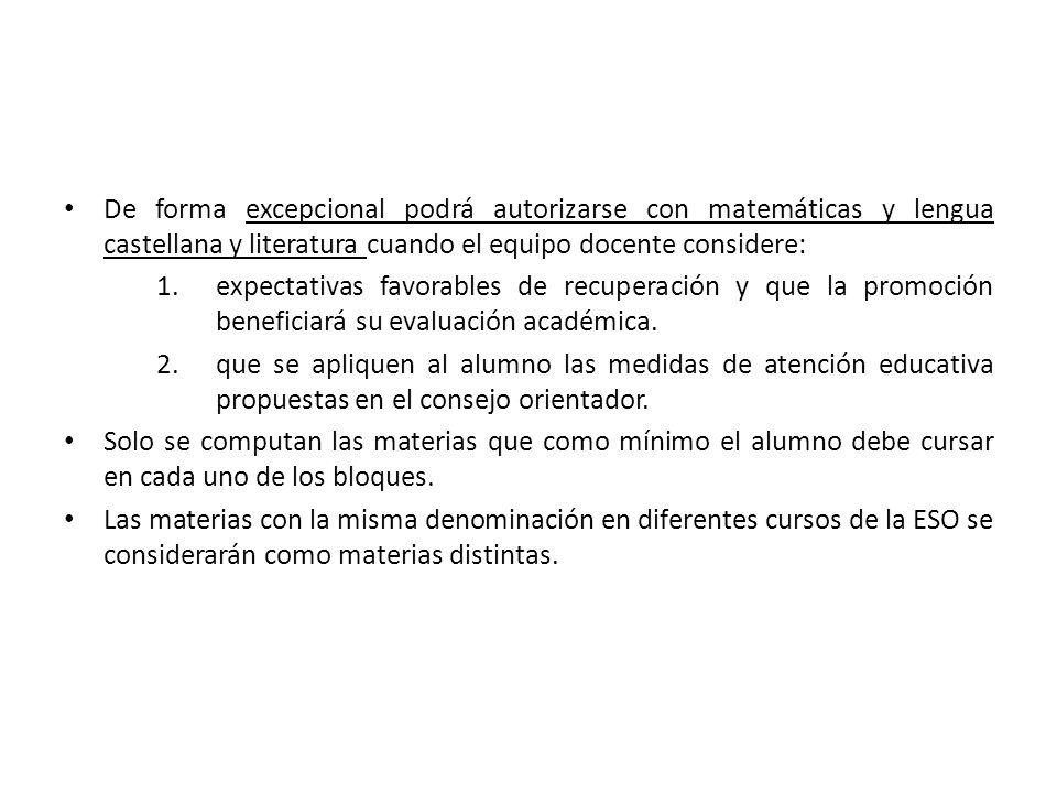 De forma excepcional podrá autorizarse con matemáticas y lengua castellana y literatura cuando el equipo docente considere: 1.expectativas favorables