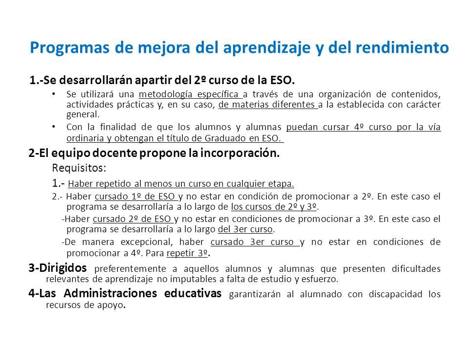 Programas de mejora del aprendizaje y del rendimiento 1.-Se desarrollarán apartir del 2º curso de la ESO. Se utilizará una metodología específica a tr