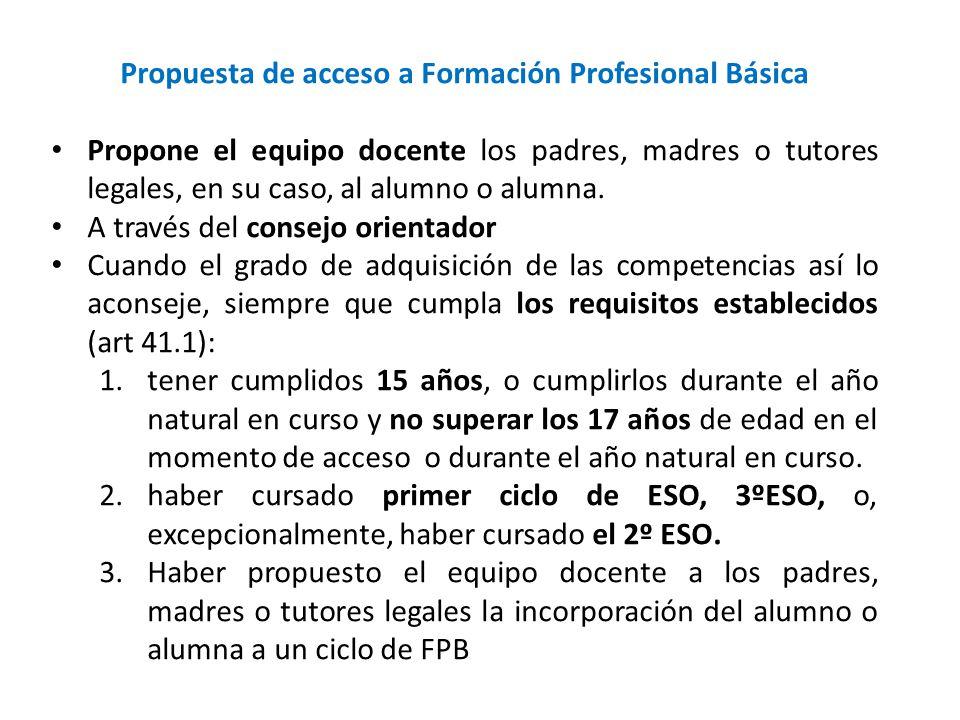 Propuesta de acceso a Formación Profesional Básica Propone el equipo docente los padres, madres o tutores legales, en su caso, al alumno o alumna. A t