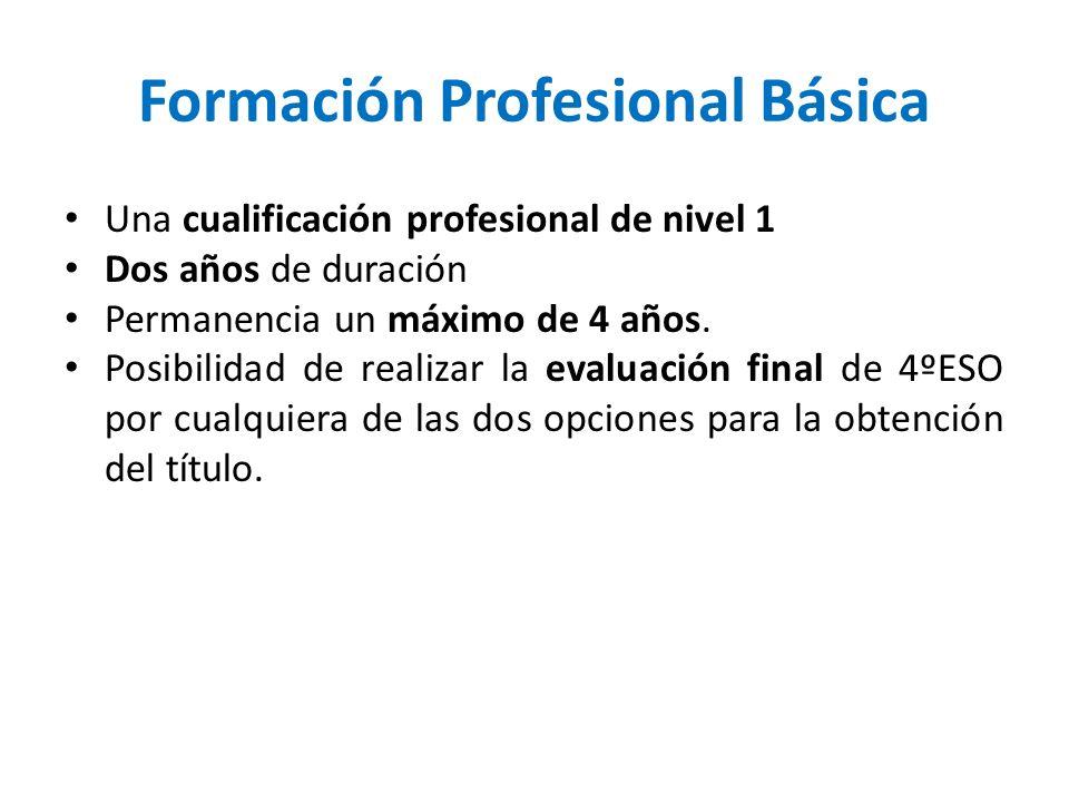 Formación Profesional Básica Una cualificación profesional de nivel 1 Dos años de duración Permanencia un máximo de 4 años. Posibilidad de realizar la
