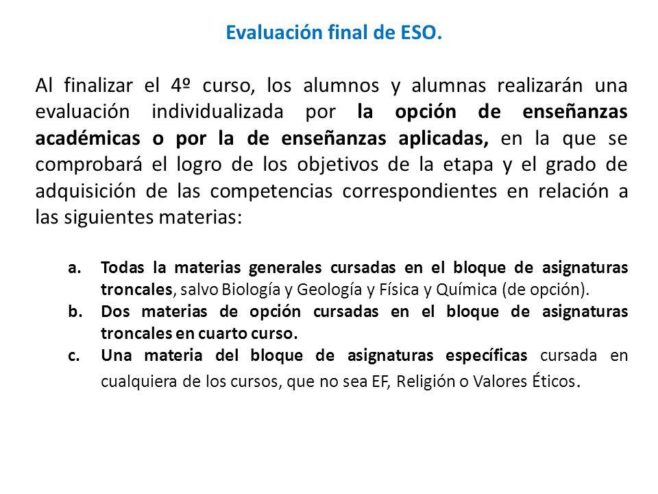 Evaluación final de ESO. Al finalizar el 4º curso, los alumnos y alumnas realizarán una evaluación individualizada por la opción de enseñanzas académi
