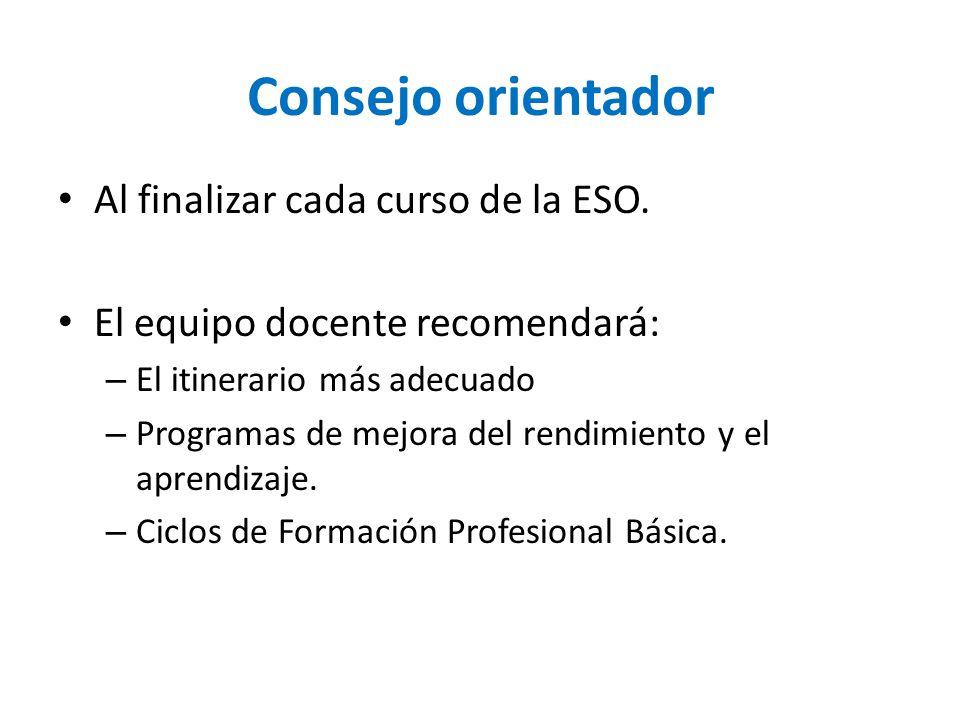 Consejo orientador Al finalizar cada curso de la ESO. El equipo docente recomendará: – El itinerario más adecuado – Programas de mejora del rendimient