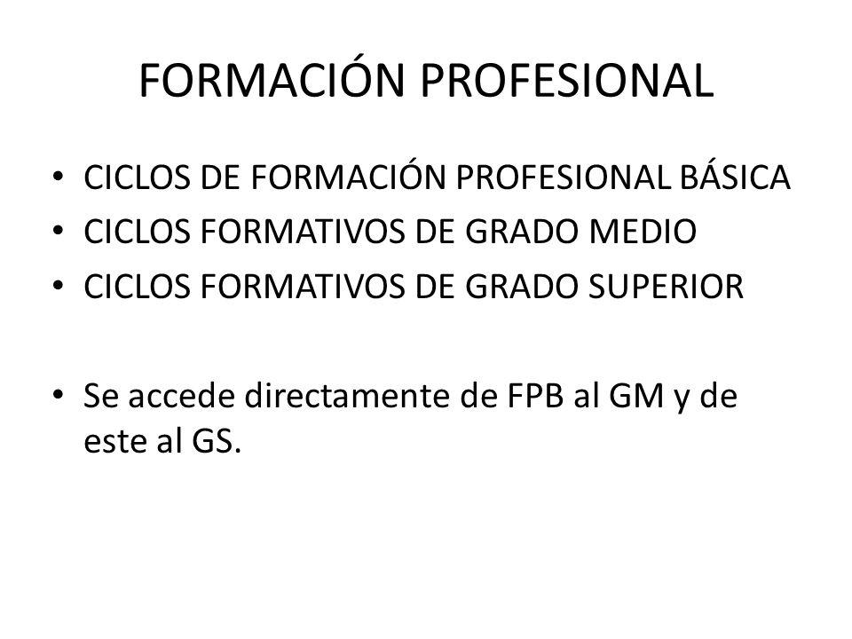 FORMACIÓN PROFESIONAL CICLOS DE FORMACIÓN PROFESIONAL BÁSICA CICLOS FORMATIVOS DE GRADO MEDIO CICLOS FORMATIVOS DE GRADO SUPERIOR Se accede directamen