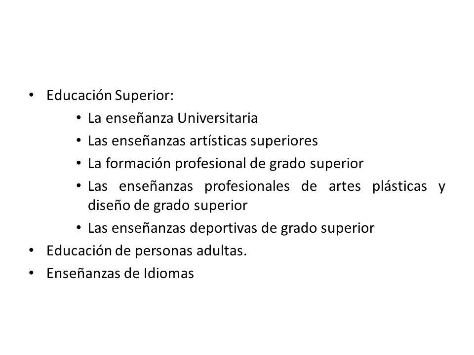 Educación Superior: La enseñanza Universitaria Las enseñanzas artísticas superiores La formación profesional de grado superior Las enseñanzas profesio