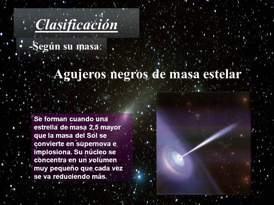 Clasificación -Según su masa: Agujeros negros de masa estelar Se forman cuando una estrella de masa 2,5 mayor que la masa del Sol se convierte en supe