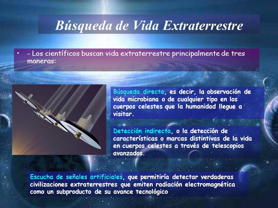 Búsqueda de Vida Extraterrestre - Los científicos buscan vida extraterrestre principalmente de tres maneras: Búsqueda directa, es decir, la observació