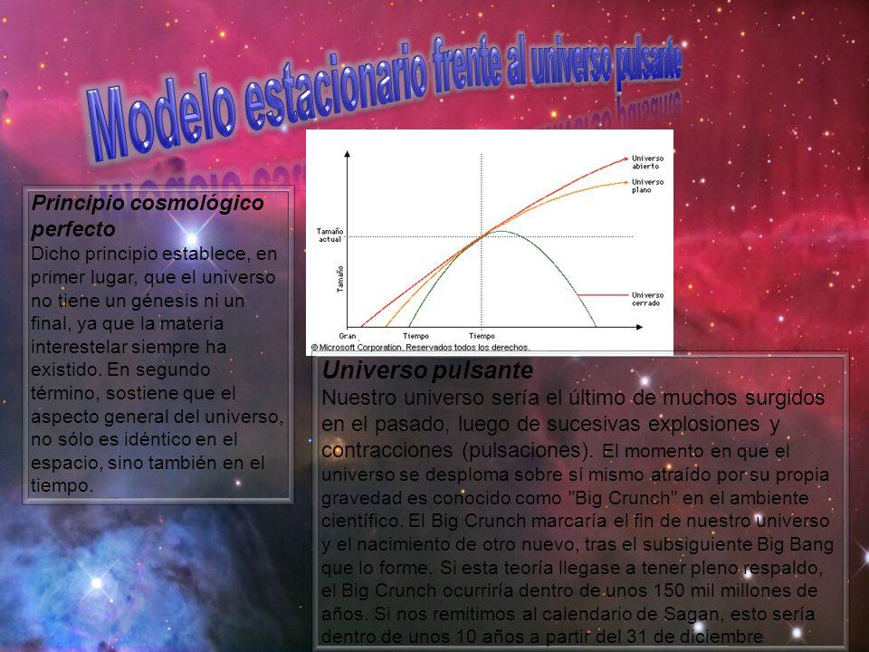 Principio cosmológico perfecto Dicho principio establece, en primer lugar, que el universo no tiene un génesis ni un final, ya que la materia interest