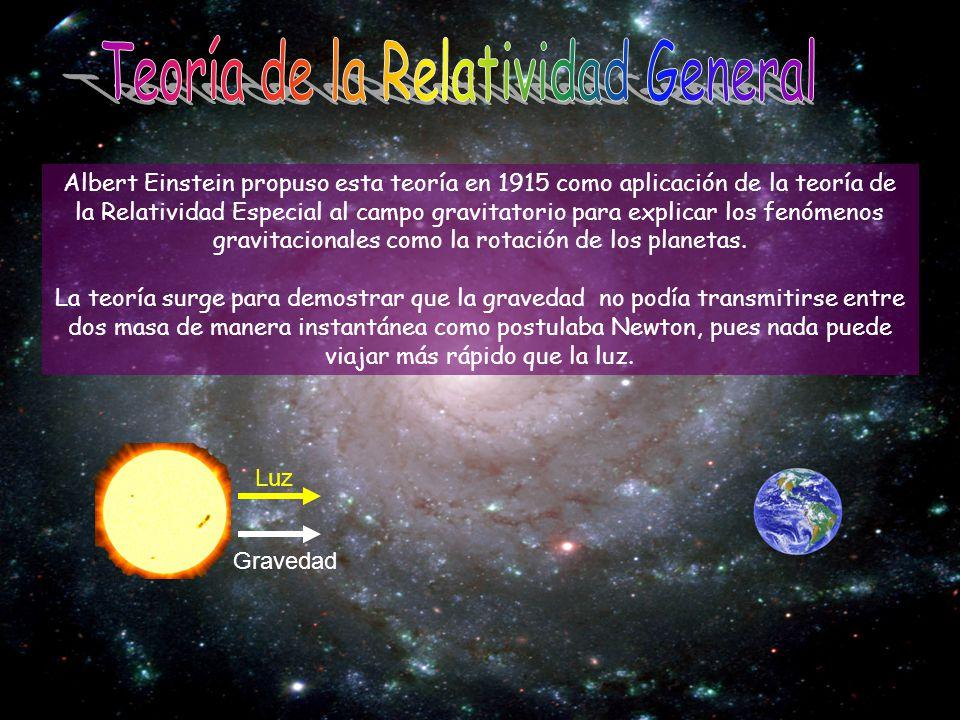 Albert Einstein propuso esta teoría en 1915 como aplicación de la teoría de la Relatividad Especial al campo gravitatorio para explicar los fenómenos